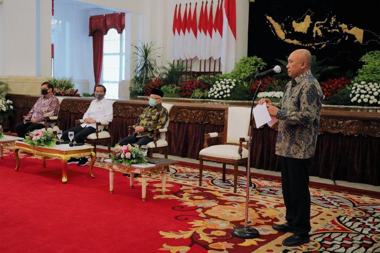Menteri Koperasi dan UKM Teten Masduki  saat di istana presiden, Kamis (23/7/2020).
