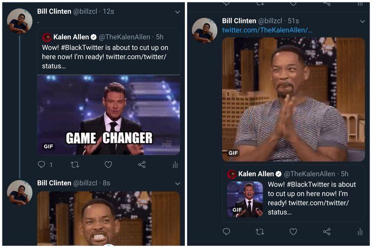 Ilustrasi fitur Retweet dengan media gambar atau GIF. Gambar sebelah kiri adalah fitur Retweet sebelum pembaruan. Sementara gambar sebelah kanan adalah fitur Retweet setelah pembaruan.