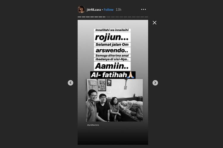 Postingan insta Story Zara JKT48 tentang mendiang Arswendo Atmowiloto.