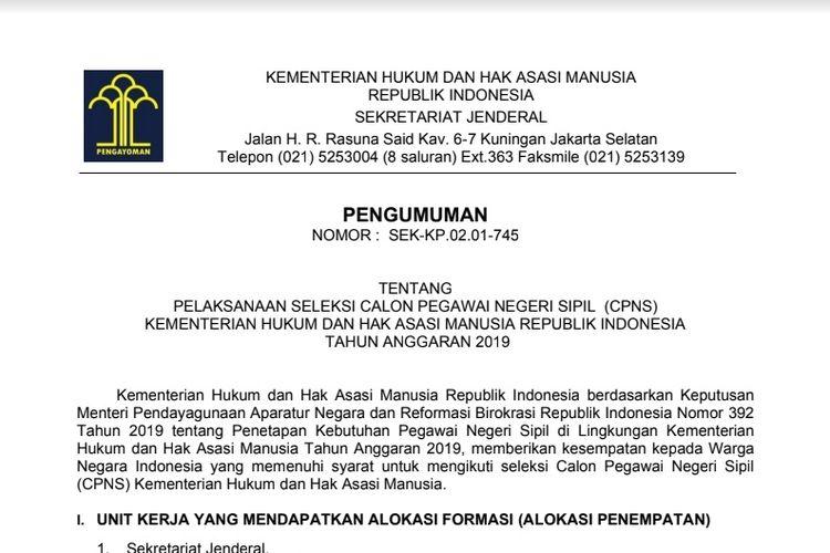 Ilustrasi pembukaan CPNS 2019 dari Kemenkum HAM.