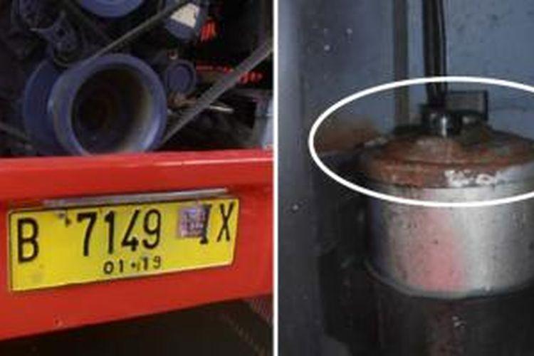 Bus Transjakarta baru yang dibeli Pemprov DKI Jakarta dari China diduga bus bekas yang direkondisi. Beberapa bagian dari bus tidak menunjukkan alat transportasi itu adalah barang baru. (Kiri) Bus gandeng dengan nomor B7146 IX. (Kanan) Tabung oli power steering karatan.