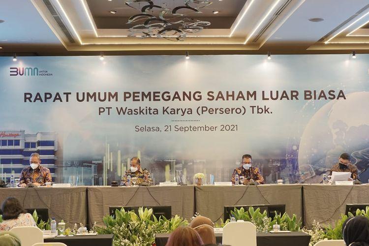 Rapat Umum Pemegang Saham Luar Biasa (RUPSLB) PT Waskita Karya (Persero) Tbk, Selasa (21/09/2021).