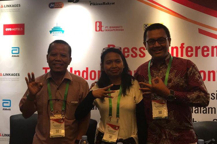 Maruli Togatorop (kiri) dalam acara The Indonesian AIDS Conference (iAIDS) 2019.