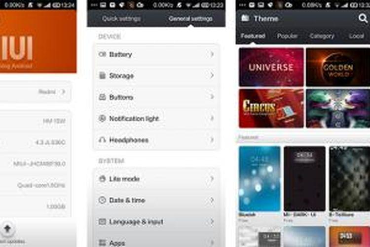 Layar keterangan sistem Redmi 1S (kiri), tampilan menu settings (tengah), dan aplikasi themes yang menyediakan sejumlah pilihan tema untuk antarmuka MIUI 5