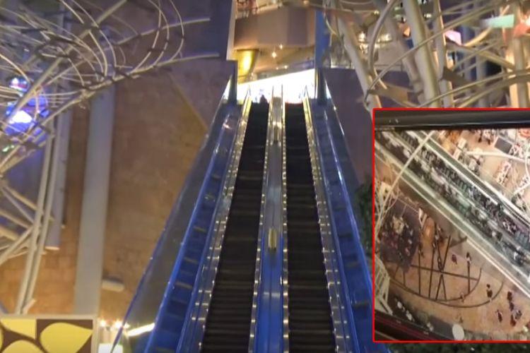 Cuplikan gambar dari video eskalator di Langham Place Mall, Hong Kong, yang tiba-tiba berjalan berbalik arah dalam kecepatan tinggi, Sabtu (25/3/2017) sore waktu setempat.