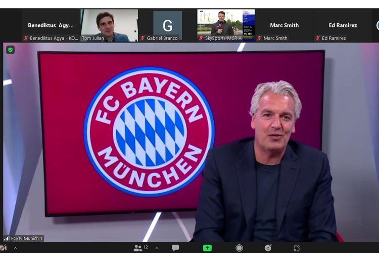 Anggota Dewan Eksekutif Bayern Muenchen, Joerg Wacker, berbicara dalam acara media visit pada Senin (16/8/2021) malam WIB.