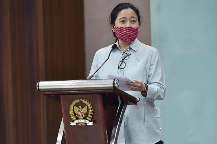 Ketua DPR RI, Puan Maharani saat memberi keterangan terkait new normal Covid-19, Rabu (27/05/2020)