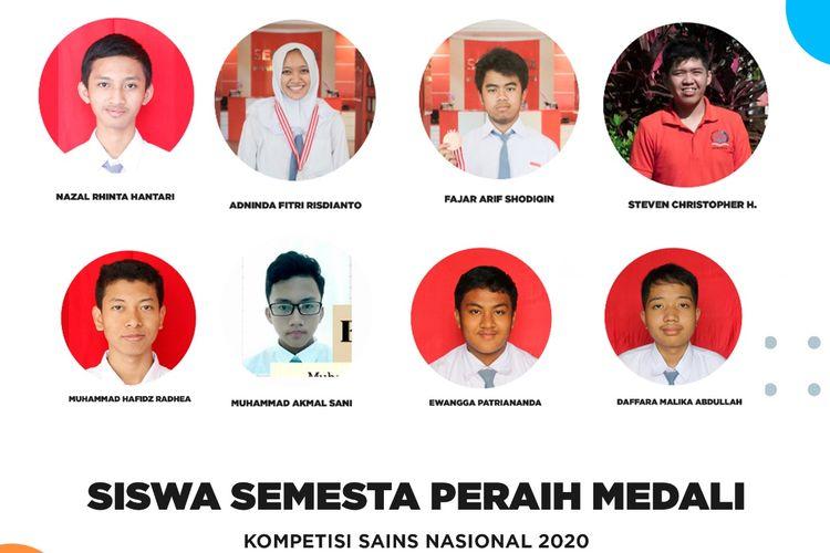 Sekolah Semesta. Semarang, berhasil meraih 8 medali dalam 7 bidang dari 9 bidang yang dilombakan dalam Kompetisi Sains Nasional 2020.