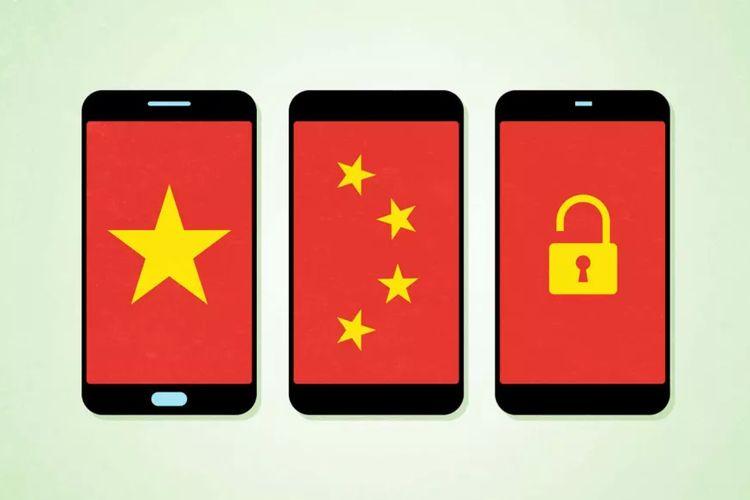 Ilustrasi smartphone dan China.