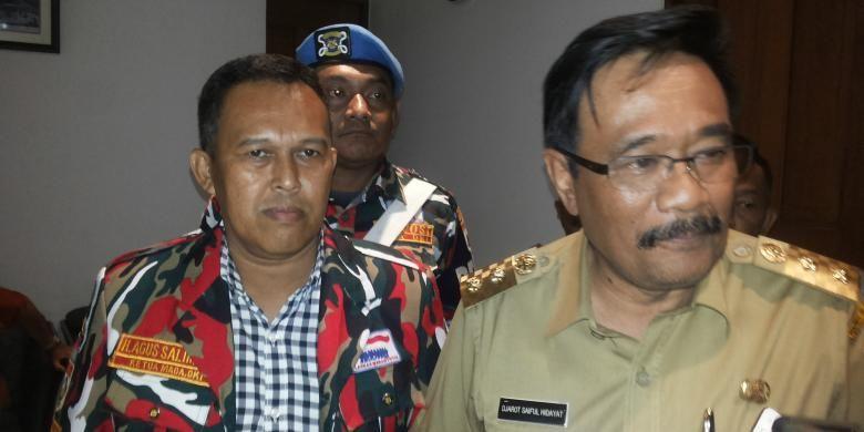 Ketua Laskar Merah Putih DKI Jakarta Agus Salim di Balai Kota, Senin (24/10/2016).