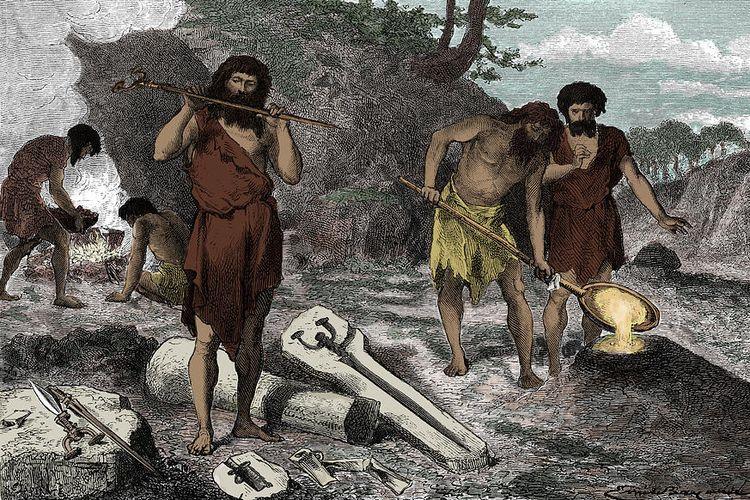 Ilustrasi kehidupan manusia pada masa perundagian.