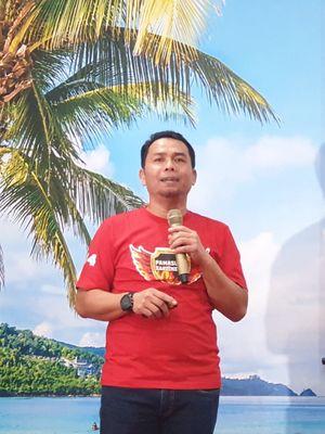 GM Network Operation Quality Management Telkomsel Regional Kalimantan, Rahmad Putra Jaya, saat memaparkan kesiapan jaringan di Kalimantan Timur, Senin (23/9/2019)