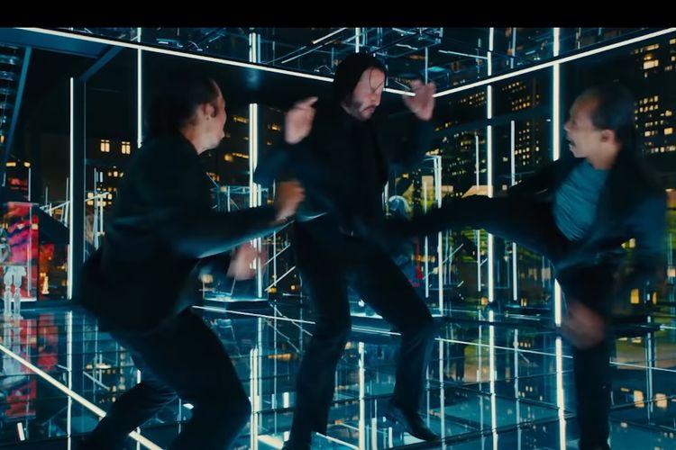 Cuplikan dalam trailer film John Wick 3 yang menampilkan adegan Cecep A Rahman, Yayan Ruhian, Keanu Reeves saling hajar.