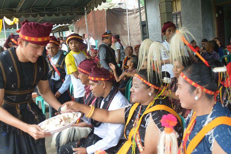 Wisatawan Nusantara sedang melayani warga lokal dengan makanan Uwi saat Pesta Reba Ngada di Kampung Langa, Kecamatan Bajawa, Kabupaten Ngada, Flores, NTT, Selasa (15/1/2019).