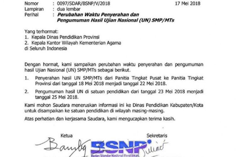 Pengunduran Jadwal Pengumuman Hasil UN SMP