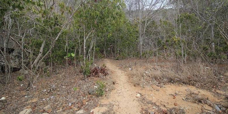 Setelah tiba di pantai, wisatawan harus berjalan sekitar lima menit untuk dapat tiba di mulut Gua Rangko.