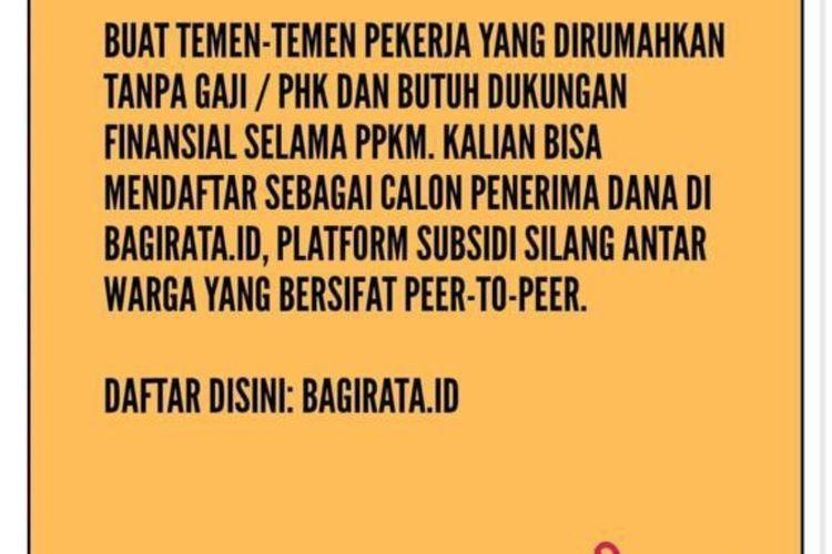Tangkapan layar akun instagram @perempuan_pekerja tentang inisiatif Bagi Rata