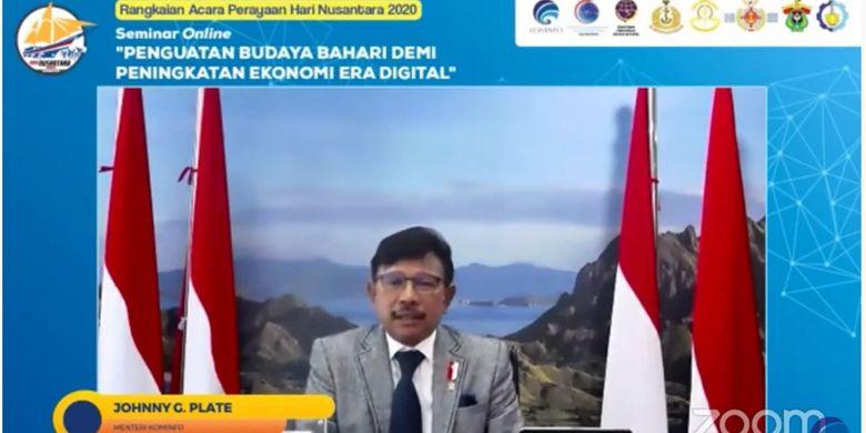 Menteri Johnny G. Plate sedang memberikan pidato dalam acara ?Penguatan Budaya Bahari Demi Peningkatan Ekonomi Era Digital? pada Kamis (10/12/2020).