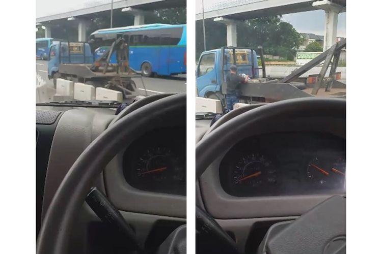 Tangkapan layar dari video derek liar di jalan tol Jakarta-Cikampek.