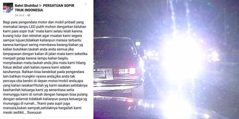 Lampu silau keluhan sopir truk menjadi viral di dunia maya.