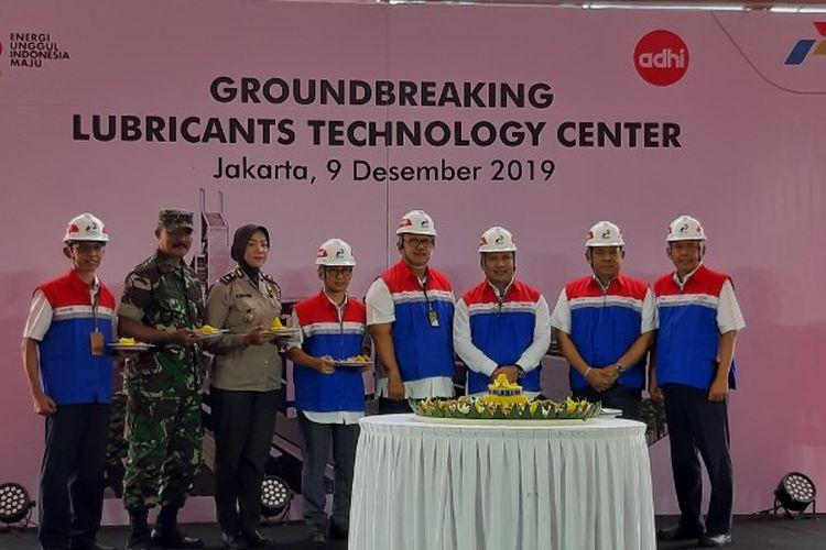 Kegiatan peletakan batu pertama pembangunan Lubricants Technology Center (LTC) di Plumpang, Jakarta Utara, Senin (9/12/2019).