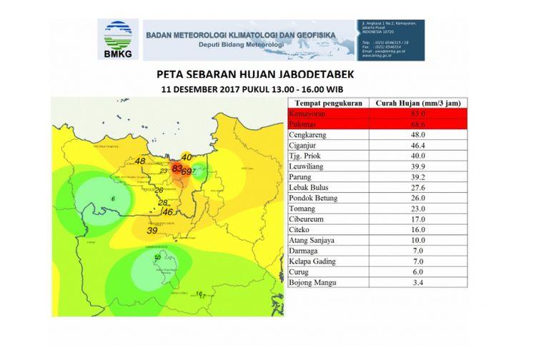 Peta Sebaran Hujan Jabodetabek pada Senin (11/12/2017)