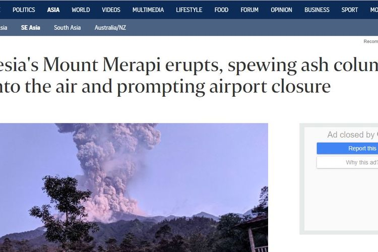 Pemberitaan soal meletusnya Merapi, Selasa (3/3/2020) dimuat dalam media The Straits Times, Singapura