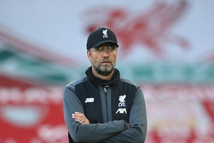 Juergen Klopp menjelang laga Liverpool vs Crystal Palace yang berakhir 4-0 untuk tuan rumah di Stadion Anfield dalam lanjutan pekan ke-31 Premier League, kasta teratas Liga Inggris, Rabu (24 Juni 2020).