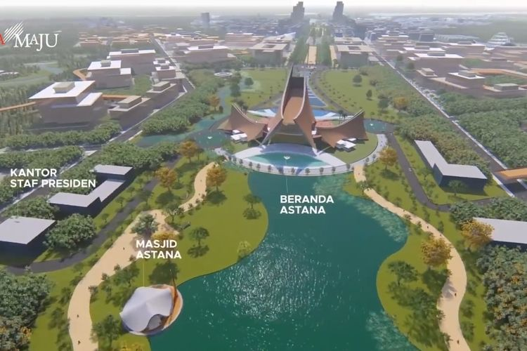 Foto tangkapan layar YouTube Sekretariat Presiden: konsep desain ibu kota baru Nagara Rimba Nusa, pemenang sayembara Kementerian PUPR.