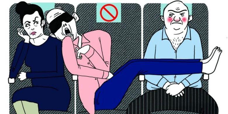 Ilustrasi penumpang tidak beretika saat menumpang pesawat.