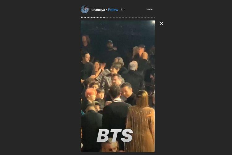 Bidik layar postingan Instagram Story Luna Maya saat menonton BTS di Billboard Music Awards 2019 di Las Vegas, AS, Rabu (1/5/2019) waktu setempat.