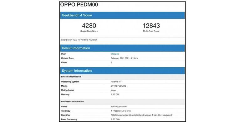Tangkapan layar skor benhcmark Geekbench Oppo Find X3 dengan nomor model PEDM00