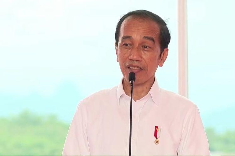Foto tangkapan layar Presiden Joko Widodo meresmikan kolam regulasi Nipa-nipa di Kabupaten Maros, Sulawesi Selatan, Kamis (18/3/2021).