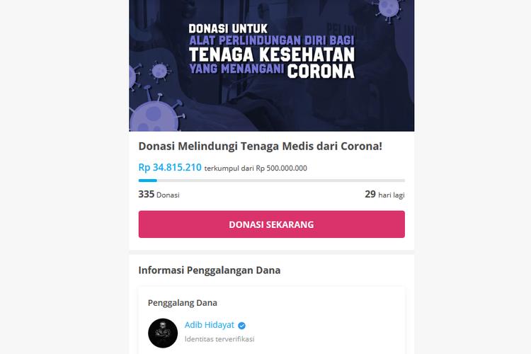 Editor in Chief Billboard Indonesia Adib Hidayat menggalang donasi untuk membeli alat perlindungan diri bagi tenaga kesehatan yang menangani corona.