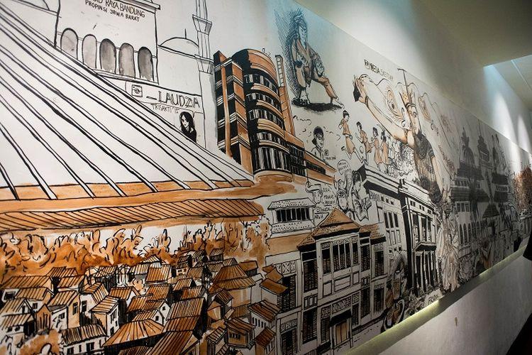 Lukisan yang berada di sepanjang lorong yang menuju ke pintu keluar Museum Gedung Sate, Bandung, Jumat (17/1/2020).