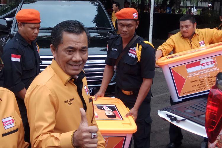 Sekretaris Jendral (Sekjen) DPP Hanura Sarifuddin Sudding datang ke KPU RI mendaftarkan Partai Hanura sebagai calon Peserta Pemilu 2019. Jakarta, Kamis (12/10/2017).