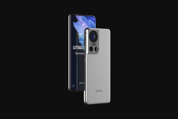 Desain bagian depan dan belakang ponsel yang diduga sebagai Galaxy S22.