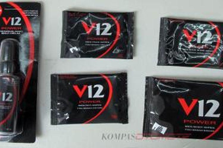 Berbagai produk dari V12 yang dipasarkan untuk biker.