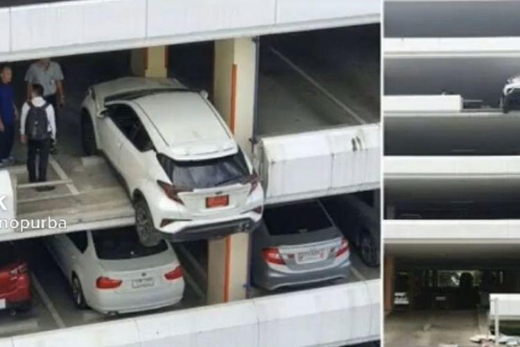Mobil Toyota C-HR nyaris terjun bebas di Bangkok Thailand