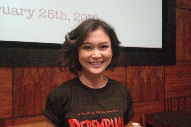 Marissa Anita menghadiri syukuran film horor Perempuan Tanah Jahanam di Queens Head, Kemang Raya, Jakarta Selatan, Senin (25/2/2019).