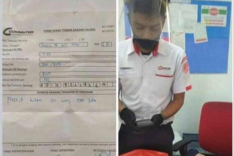Foto seorang petugas Kereta Rel Listrik yang sedang menangani uang temuan sejumlah Rp 500 ribu di Stasiun Bogor, Jawa Barat, viral di media sosial. Uang iti baru diserahkan setelah ditemukan oleh tim OTC di Stasiun Bojong Gede, Bogor, Jawa Barat, Senin (6/7/2020)