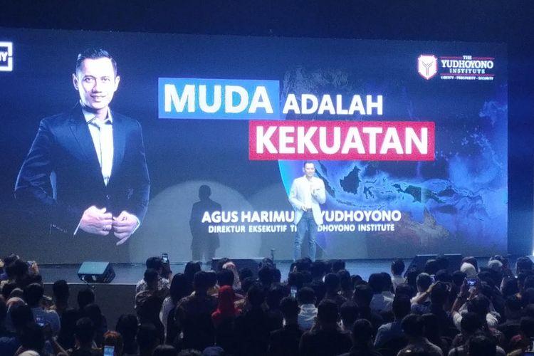 Ketua Kogasma Partai Demokrat Agus Harimurti Yudhoyono berorasi di Djakarta Theater, Jumat (3/8/2018).