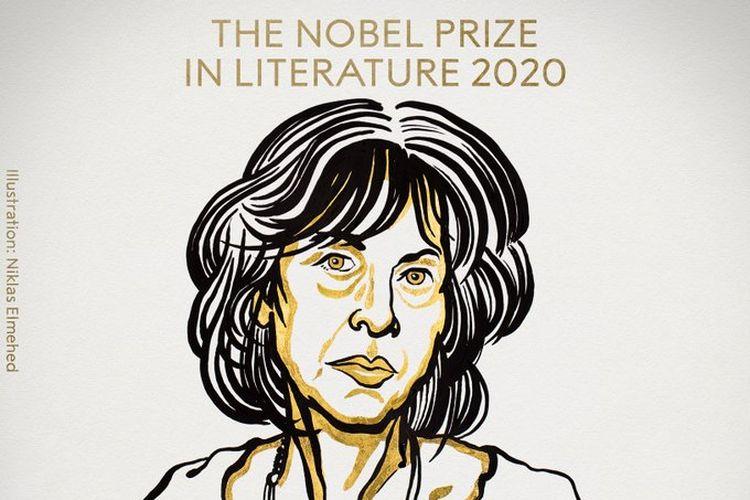Ilustrasi wajah Louise Glück, penerima penghargaan Nobel Sastra 2020.