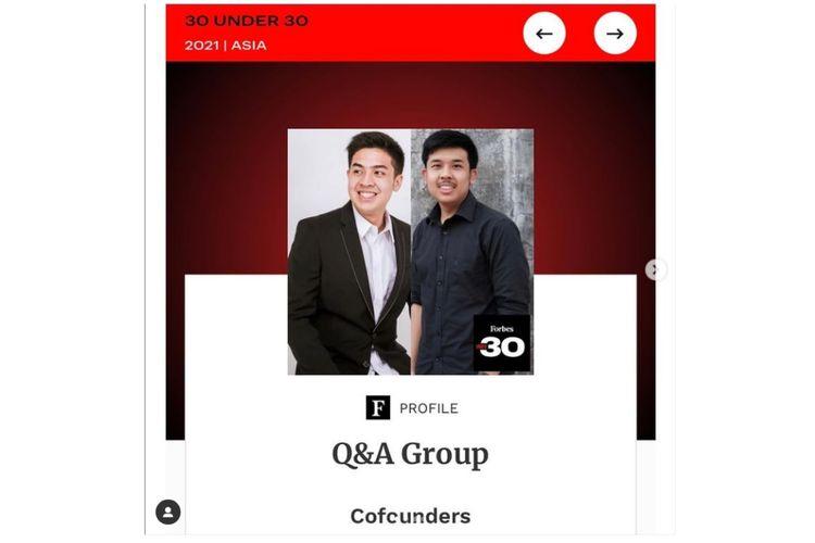 Influencer bersaudara Jerome Polin (kiri) dan Jehian Panangian Sijabat dalam daftar Forbes 30 Under 30 Asia.
