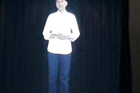 Jokowi Tiba-tiba Muncul Lewat Hologram di Job Fair Bekasi