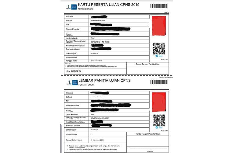 Kartu peserta ujian seleksi calon pegawai negeri sipil (CPNS) 2019.