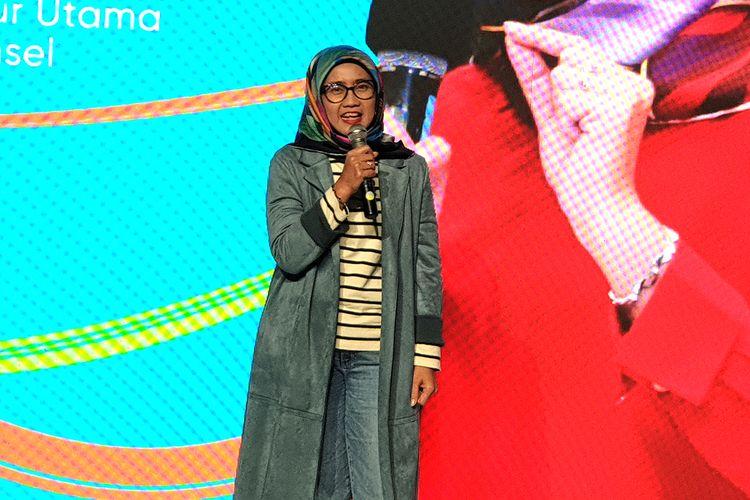 Direktur Utama Telkomsel Emma Sri Martini dalam acara peluncurkan kartu perdana digital By.U di Jakarta, Kamis (10/10/2019).