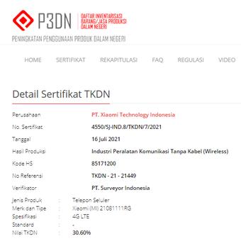 Nomor model 21081111RG terdaftar di laman TKD, diyakini sebagai perangkat Xiaomi Mi 11T.