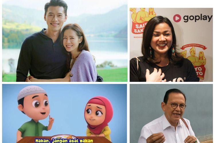 Kolase foto Hyun Bin dan Son Ye Jin, Nirina Zubir, Roy Marten, dan serial animasi Nussa