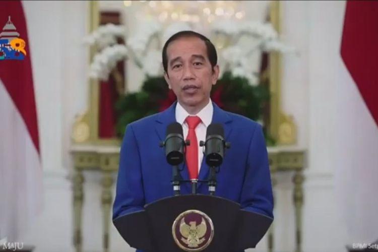 Tangkapan layar Presiden Joko Widodo saat hadir secara virtual dalam Dies Natalis ke-58 Universitas Brawijaya (UB), Selasa (5/1/2020)
